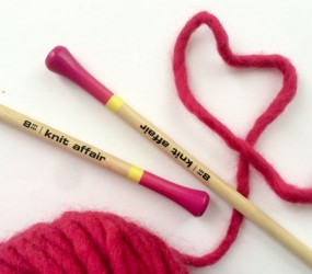 knitting needles straight wool heart - knit affair