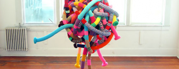 Colorful knit & chrochet installations | Sarah Applebaum