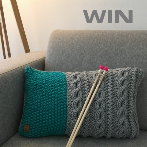 Giveaway Cushion & Knitting needles | Love for Wool & knit affair